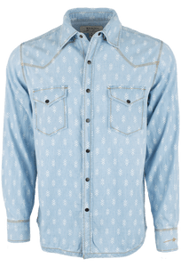 Ryan Michael Chambray Indigo Print Snap Shirt - Front