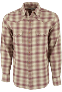 Ryan Michael Heather Ombre Plaid Snap Shirt - Garnet - Front