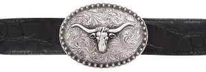 "Silver King Oval Longhorn with Berries 1 1/2"" Trophy Buckle"