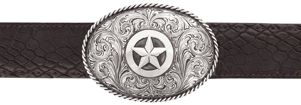 """Silver King Oval Star with Rope Edge 1 1/2"""" Trophy Buckle"""