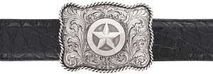 "Silver King Scalloped Star with Rope Edge 1 1/2"" Trophy Buckle"