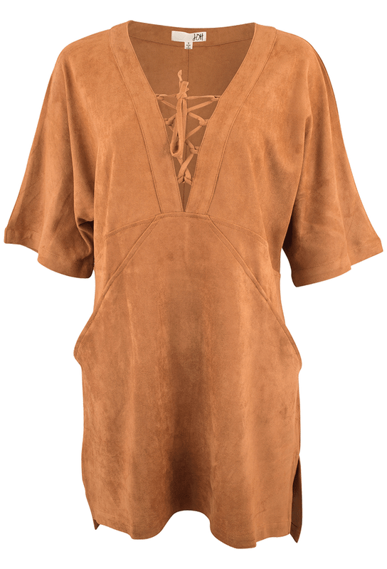 Joh Faux Suede Shift Dress with Tie Front - Front