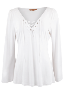 Bronte White Long Sleeve Tatum Top - Front