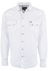 Garth Brooks Sevens by Cinch White Paisley Jacquard Snap Shirt  - Front