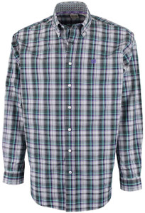 Cinch Purple and Gray Plaid Plain Weave Shirt - Front