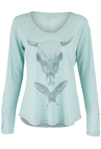 Pajamas - Skull and Feather Long Sleeve Night Top - Front