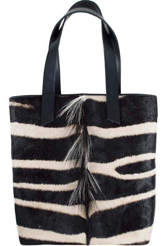 Kulu Zebra Shopper Tote with Mane - Front