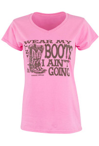Cowgirl Justice Wear My Boots Tee - Pink - Front