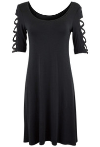 Stilleto Black Lattice Sleeve Dress - Front