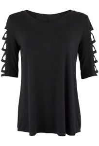 Stilleto Black Lattice Sleeve Top - Front