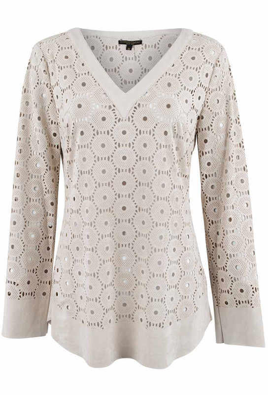 Alberto Makali Faux Suede Laser Cut Circle Tunic - Front
