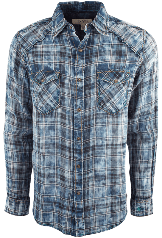 Ryan Michael Double Face Plaid Snap Shirt - Indigo - Front