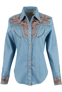 Scully Women's Gunfighter Western Snap Shirt - Blue - Front