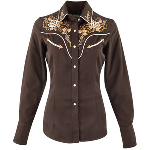 Panhandle Slim Brown Retro Vintage Rose Western Snap Shirt - Front