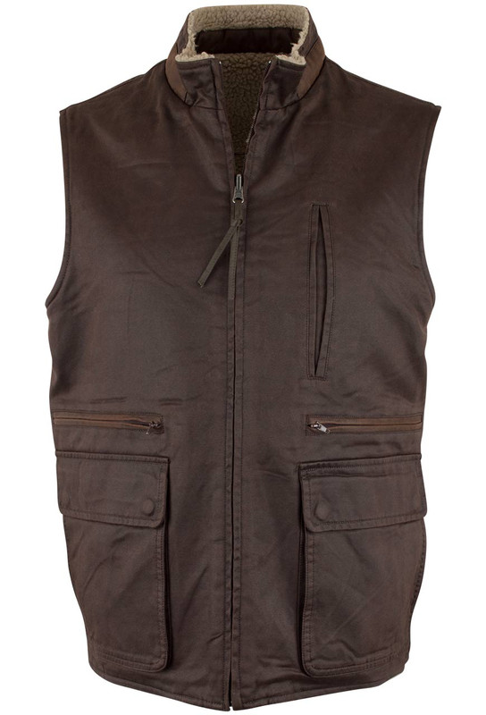 Madison Creek Reversible Sherpa Fleece Vest - Dark Brown - Front