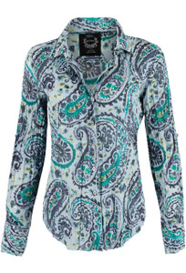 Cino Gray Paisley Print Button Down Shirt - Front