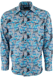 David Smith Australia Navy Royston Print Shirt - Front