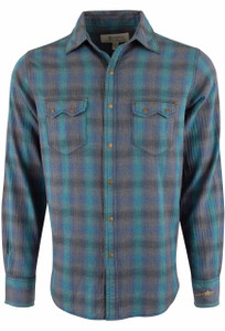 Ryan Michael Heather Ombre Plaid Snap Shirt - Lagoon - Front