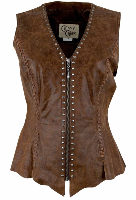 Cripple Creek Studded Leather Vest - Brown - Front