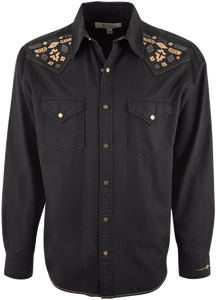 Ryan Michael Silk Gabardine Snap Shirt - Black - Front