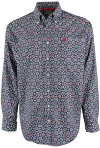 Cinch Navy Foulard Print Shirt - Front