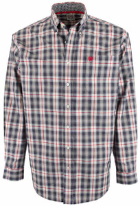 Cinch Navy and Red Windowpane Shirt - Front