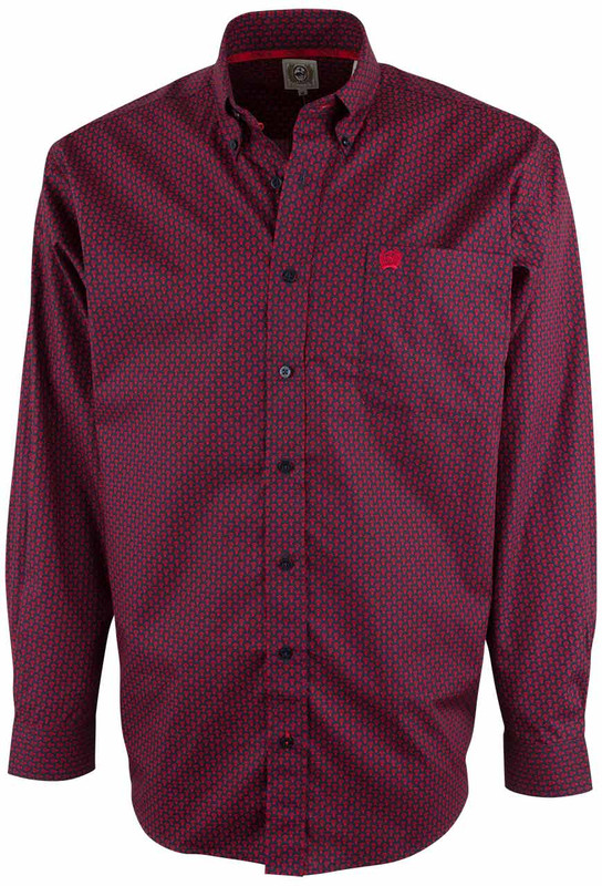 Cinch Navy and Red Arrowhead Print Shirt - Front
