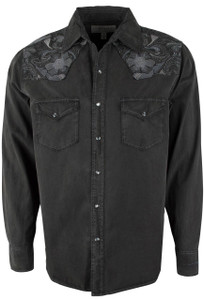 Ryan Michael Silk Tooled Embroidery Snap Shirt - Black - Front