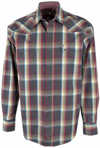 Stetson Gray Sandstone Ombre Plaid Snap Shirt - Front