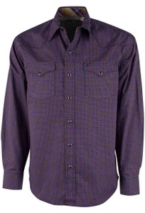 Stetson Purple 8-Ball Foulard Print Snap Shirt - Front