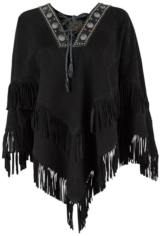 Double D Ranch Machito Suede Poncho - Front