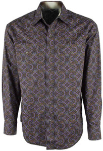 Stetson Purple Gothic Paper Print Snap Shirt - Front