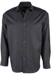 Bugatchi Black Mini Paisley Shirt - Front