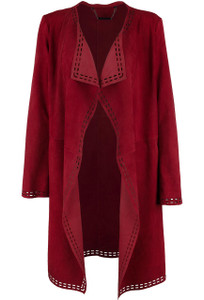 Bagatelle Laser Cut Drape Duster Coat - Front