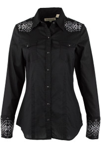 Stetson Black National Embroidered Western Snap Shirt - Front