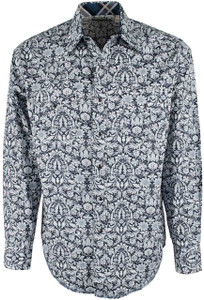 Stetson Blue Morris Tapestry Print Snap Shirt - Front