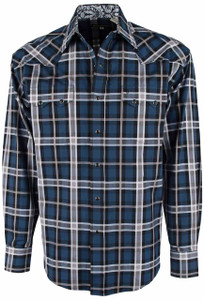 Stetson Blue Night Sky Plaid Snap Shirt - Front