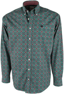 Cinch Green and Red Foulard Print Shirt - Front