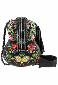 Mary Frances Folklore Black Guitar Handbag