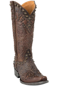 Old Gringo Women's Chocolate and Brass Raelene Boots - Hero
