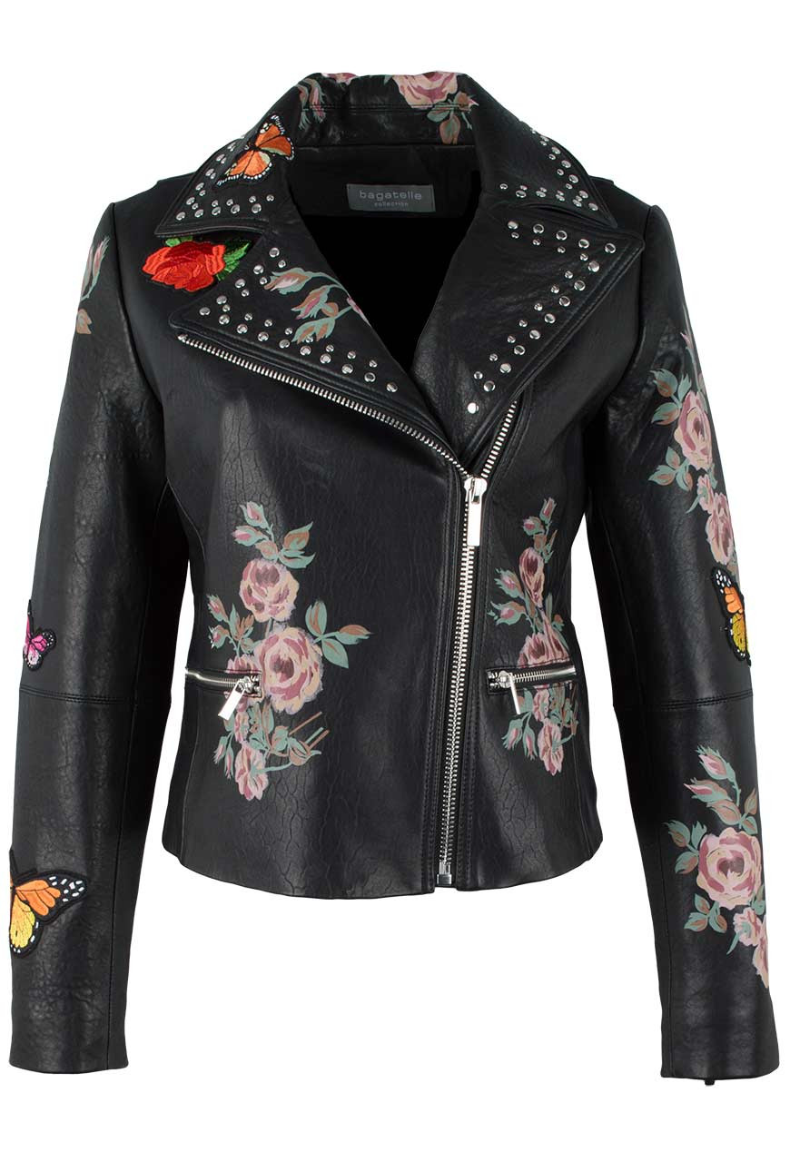Bagatelle Moto Jacket with Painted Floral