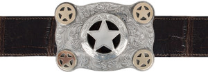 """Pinto Ranch Silver and Gold Cinco Peso 1 1/2"""" Trophy Buckle"""