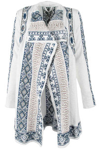 Paparazzi White Embroidered Sweater Coat - Front