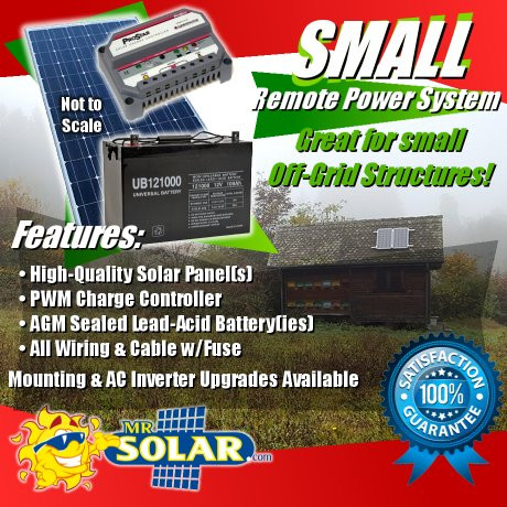 85W Small Remote Power System Kit - Our SRP Series off-grid solar power kits are a great solution for providing electrical power to your remote cabin or other off-grid structure.