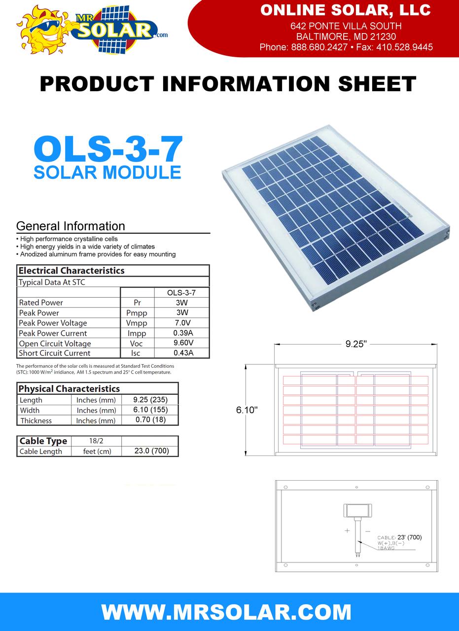 Online Solar 3w 7v Solar Panel Solar Panel For 6 Volt