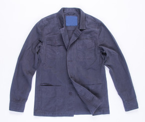 Men's Button Up Coat- Navy