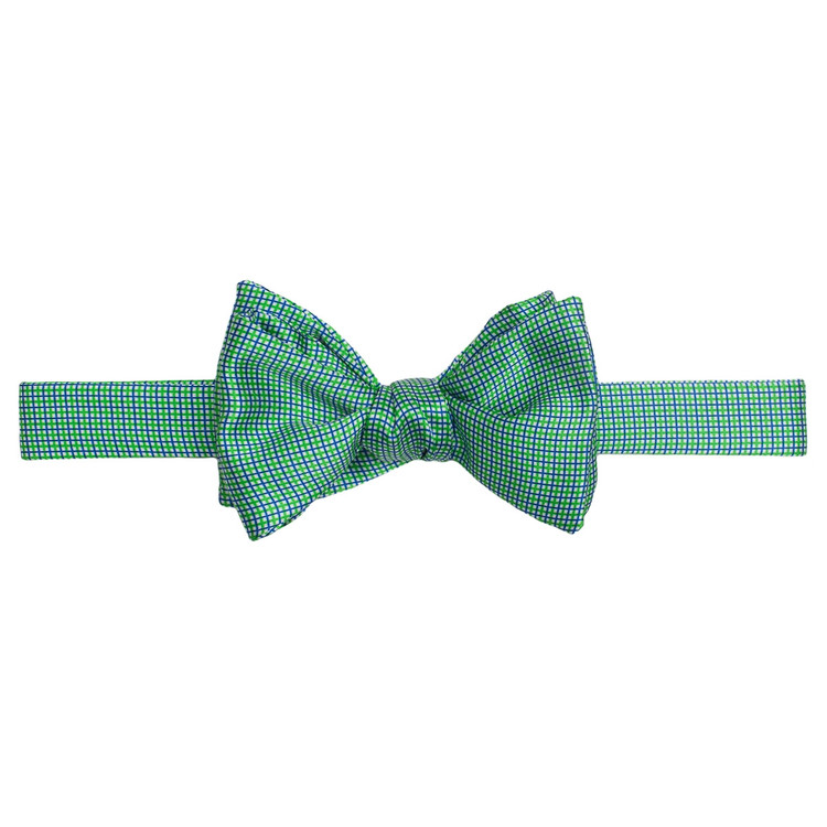 Best of Class Green and Blue Small Check 'Duchesse' Hand Sewn Woven Silk Bow Tie by Robert Talbott