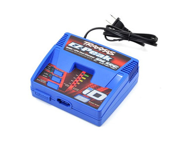 raxxas EZ-Peak Plus Multi-Chemistry Battery Charger, with iD Auto Battery Identification. The Traxxas iD battery system is the easiest and safest way to charge your Traxxas batteries. The EZ-Peak Plus recognizes Traxxas iD batteries and in an instant automatically configures and optimizes the charger settings. There's no need to be a battery expert or learn how to navigate complex menus. Just plug in a Traxxas iD battery and the EZ-Peak Plus does all the work for you. The integrated balance connector on Traxxas LiPo iD batteries eliminates fragile balance wires and connectors, along with the need for external balance boards. At the press of a button, the EZ-Peak Plus' Storage Mode protects your LiPo battery investment by safely preparing the batteries for extended storage. 4-amp fast charging and advanced high-resolution peak detection deliver a perfect charge every time. The EZ-Peak Plus is backed by the Traxxas Lifetime Electronics Manufacturer Warranty for years of reliable service.
