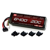 Venom 6400Mah 20C 3S 11.1 Li-Po Battery w/Universal Plug System Whether you are looking to power a 1:16 scale short course truck, an 8th scale buggy, a monster truck, heli or airplane, you can count on our high capacity high discharge rate LiPO battery packs to deliver peak performance. Like all Venom LiPoly Batteries, this battery delivers the power and run time you demand and includes heavy-duty features like 12AWG soft silicone wire leads and our patented (Patent No. 8,491,341) High Current Universal Plug System. This battery comes with plug adaptors to fit Deans, Traxxas, Tamiya and EC3 Plug Types.