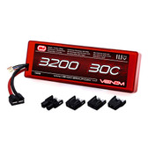 Venom 3200Mah 30C 3S 11.1V HardCase Li-Po Battery Roar Approved w/Universal Plug Whether you are looking to power a 1:16 scale short course truck, an 8th scale buggy, a monster truck, heli or airplane, you can count on our high capacity high discharge rate LiPO battery packs to deliver peak performance. Like all Venom LiPoly Batteries, this battery delivers the power and run time you demand and includes heavy-duty features like 12AWG soft silicone wire leads and our patented (Patent No. 8,491,341) High Current Universal Plug System. This battery comes with plug adaptors to fit Deans, Traxxas, Tamiya and EC3 Plug Types.
